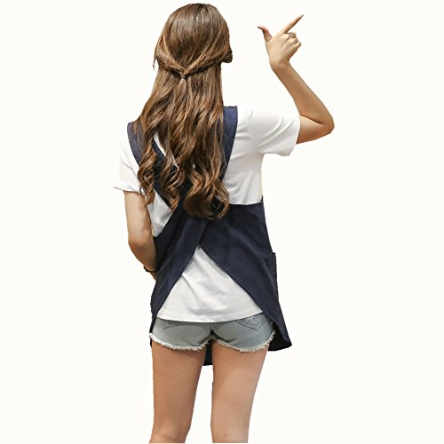 Soft Cotton Linen Apron Solid Color Halter Cross Bandage Aprons Japanese Style X Shape Double Pockets Round Skirt Kitchen Cooking Clothes Chef Summer Fit (Navy Blue) (Wrap Smock)