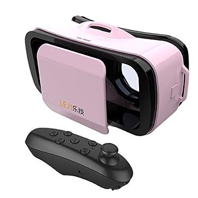 Pink LEJI Mini 3D VR Virtual Reality Glasses + Black Bluetooth Remote Controller