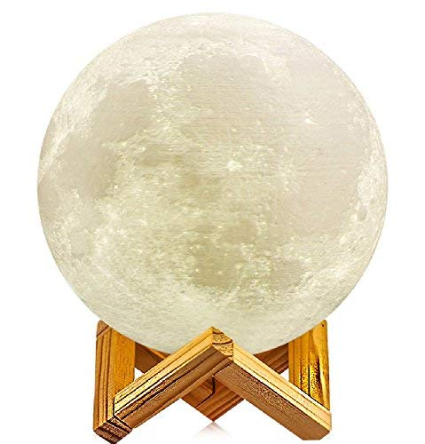 5.9 inch Full Moon Lamp, 3D Moon Lamp, 100% 3D Printing LED 16 Colors Moon Lamp, Touch& Remote Control Decorative Moon Light.