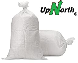 Sand Bags - Empty White Woven Polypropylene Sandbags w/ Ties, w/ UV Protection; size: 14\