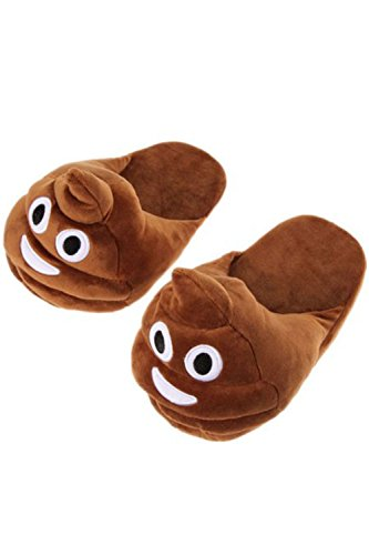 Unisex Mooie Grappige Eenhoorn & Happy Poop Emoji Slides Pluche Pantoffels Mac Brown (mac8107br)