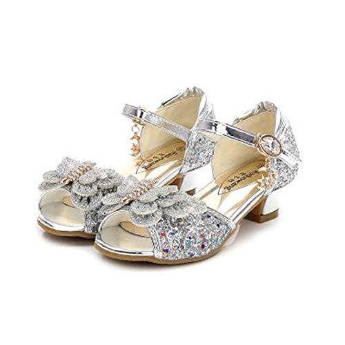 YANJK Girls High Heel Shoes Butterfly Knot Flower Baby Girl Shoes Low Heel Dance Shoes(Silver,10) -