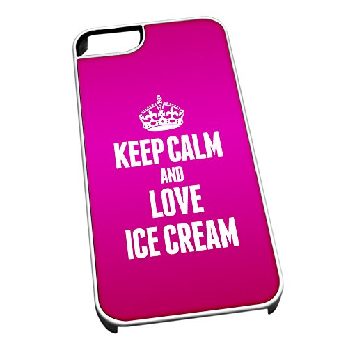 Bianco cover per iPhone 5/5S 1181Pink Keep Calm and Love Ice Cream