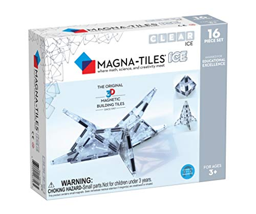 Magna-Tiles 16Piece Ice Set, The Original, Award-Winning Magnetic Building Tiles, Creativity & Educational, Stem Approved, Translucent ()