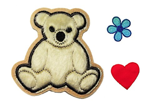 Altotux Beige Furry Teddy Bear Red Heart Blue Flower Kaylee Firefly Costume Embroidered Sew on Patches Applique DIY Cosplay Craft Supplies (Firefly Kaylee Patches)