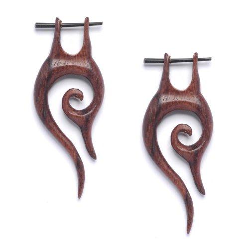 81stgeneration Women's Men's Wood Hand Made Stick Fish Hook Tribal Earrings
