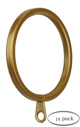 Meriville 14 pcs Gold 1.5-Inch Inner Diameter Metal Flat Curtain Rings with Eyelets, Fits Up to 1 1/4-Inch ()