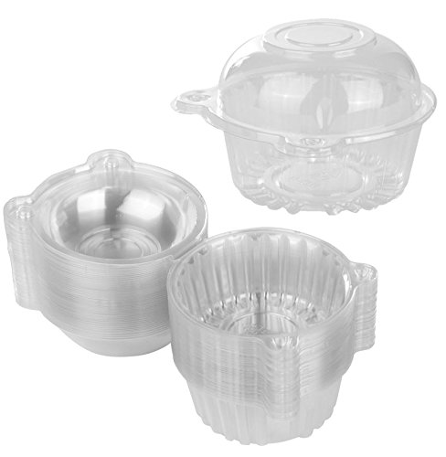 Containers Lid Dome (50 Single Individual Cupcake Muffin Holders Clear Plastic Cupcake Dome Holders, Cupcake Pods Carrier Case Boxes With Resealable Lids)