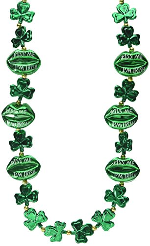 [Shamrock Beads w/Kiss Me Lips Party Accessory (1 count) (1/Card)] (Kiss Me Im Irish Costume)