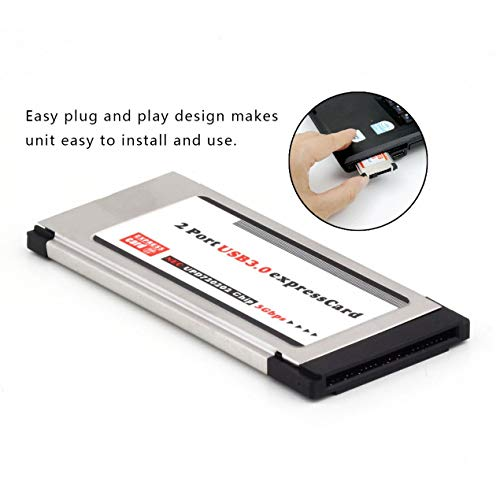 Computer connection and connector 1,High Full Speed Express Card Expresscard to USB 3.0 2 Port Adapter 34 mm Express Card Converter 5Gbps Transfer rate ()