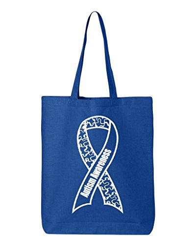 Shop4Ever White Puzzle Ribbon Upright Cotton Tote Autism Awareness Reusable Shopping Bag 6 oz Royal 1 Pack Eco