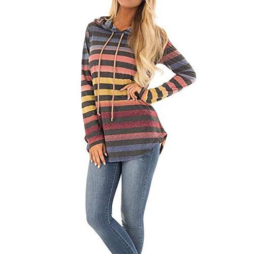 Keliay Clearance Sale,Womens Stripe Long Sleeve Hoodie Sweatshirt Hooded Pullover Tops Blouse