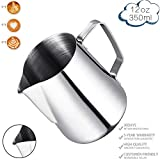 Milk Frothing Pitcher, Stainless Steel Latte Art Creamer Cup Silver 12 oz (350 ml) for Espresso Machines,Mirror Finished Review