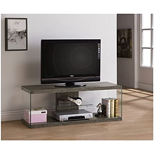 weathered grey reclaimed look glass tv console stand with shelf - Unique Tv Stands
