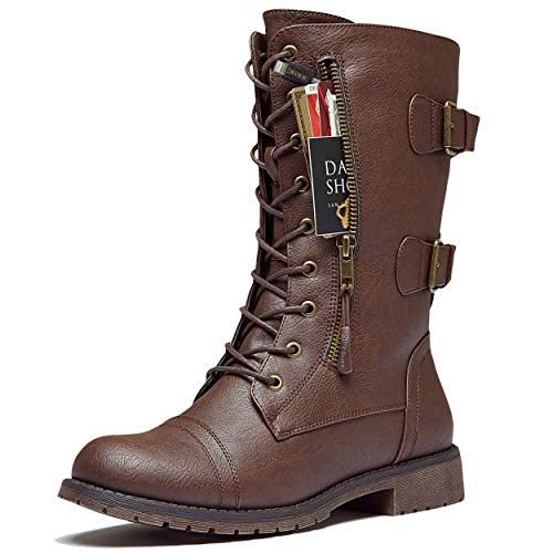 DailyShoes Women's Military Lace Up Buckle Combat Boots Mid Knee High Exclusive Credit Card Pocket, Brown Pu, 9 B(M)