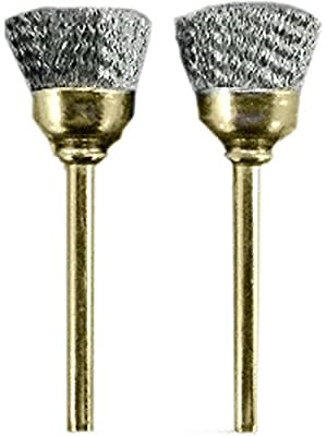 "ToolUSA 2 Pc 3/8"" Steel End Brushes On 1/8"" Shank: TJ04-04424-Z02 : ( Pack of 2 Sets )"