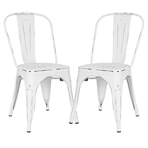 Poly and Bark Trattoria Side Chair in Distressed White (Set of 2)