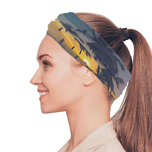 Gednix Beach Palm Tree Evening Night Elastic Headbands Head Wrap Shawl Sports Sweatband Face Mask Magic Scarf Hair Accessories Bands Ties for Women Men Girls Running Workout Fitness Yoga