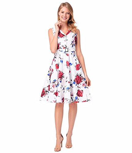 In Delle Sjmm Cintura Gonna A Senza Printed Donne A Retro Dress Skirt Stampato Vestito Sleeveless Maniche Dress Rose Vita Rosa Belt Sjmm Una Waist Un Retro Women's Bianco Vestito White 7AqR6xAw