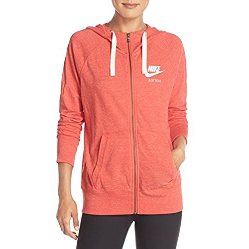 Nike Womens Gym Vintage Full Zip Hoodie Light Crimson/Sail 813872-696 (XS)
