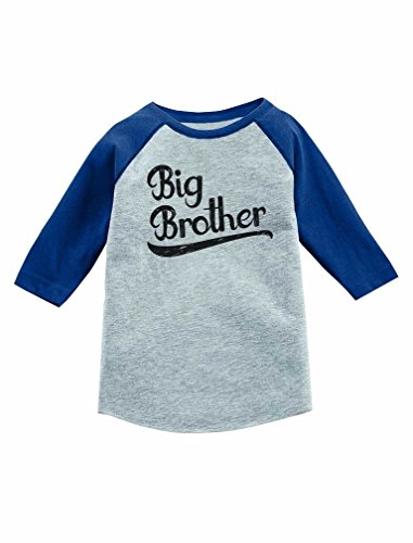 Gift for Big Brother Siblings Boys 3/4 Sleeve Baseball Jersey Toddler Shirt 2T Blue