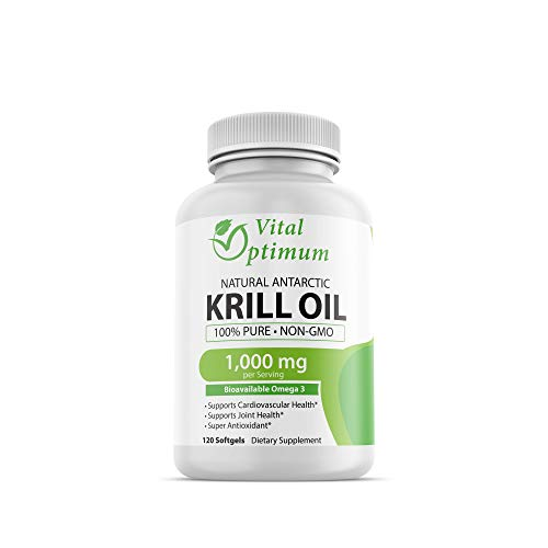 Vital Optimum Natural Antarctic Krill Oil 1000 mg with Omega-3s EPA, DHA, Astaxanthin, and Phospholipids 120 Softgels ()