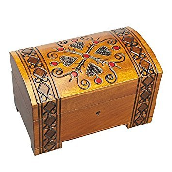 Four Hearts Handmade Wooden Box Polish Jewelry Keepsake Treasure Chest Classic Design