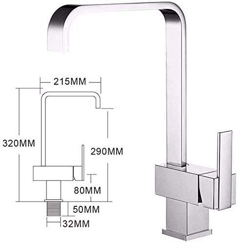 CHENBIN-BB バスルームのシンクミキサータップ温水と冷水の真鍮回転式単穴シングルレバースクエアタップバスルームのシンクのために