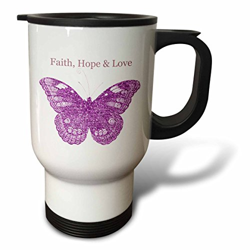 3dRose tm_151984_1'' Pink Glittery Hope, Faith, Love Butterfly inspirational art'' Travel Mug, 14 oz, Multicolor by 3dRose