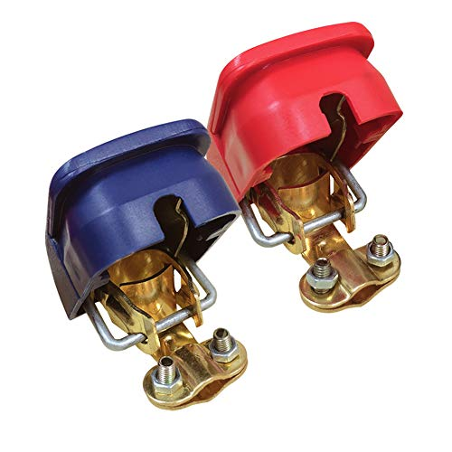 Ampper Quick Disconnect/Release Brass Battery Terminal Clamps, with Red (+) and Blue (-) Cover for Top Post Battery (1 Pair) ()