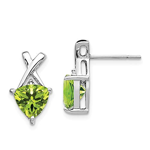 Trillion White Earrings - 14K White Gold Peridot and White Topaz Trillion Post Earrings