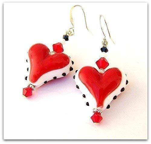 Lampwork Crystal Earring - Red Lampwork Glass Heart Earrings with Swarovski Crystals