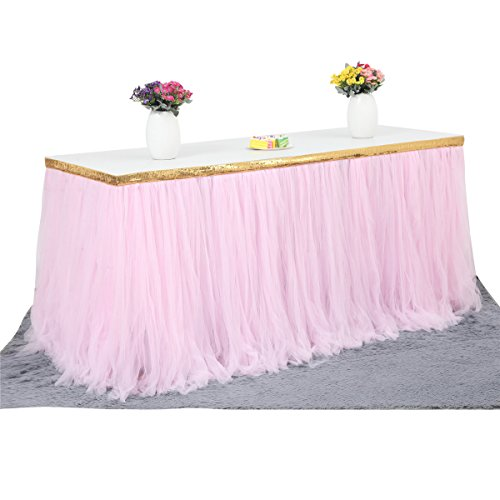 9ft Gold/Pink Tulle Table Skirt Tutu Table Skirts Wedding Birthday Baby Shower Party Table Skirting by HB HBB MAGIC (Image #1)'