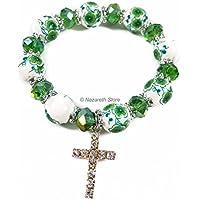 Catholic Green White Flowers Beads Rosary Bracelet Glass Beaded Bangle Unisex