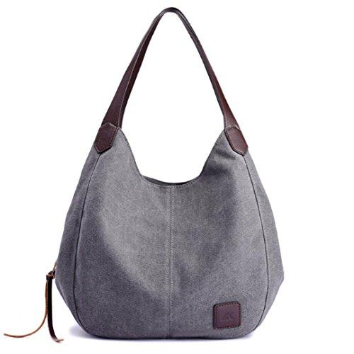 Rakkiss Womens Bag, Womens Canvas Handbags Vintage Female Hobos Single Shoulder Bags (Gray) (Miu Miu Bags Designer)