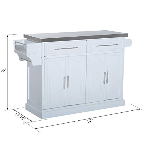 HOMCOM Pine Wood Stainless Steel Multi-Storage Portable Rolling Kitchen Island Cart with Wheels - White by HOMCOM (Image #7)