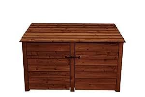 Doble bahía de fresno grande de madera LOG store con puertas–4ft–marrón–hecho a mano al aire libre cobertizo de almacenamiento de leña de madera tratada a presión