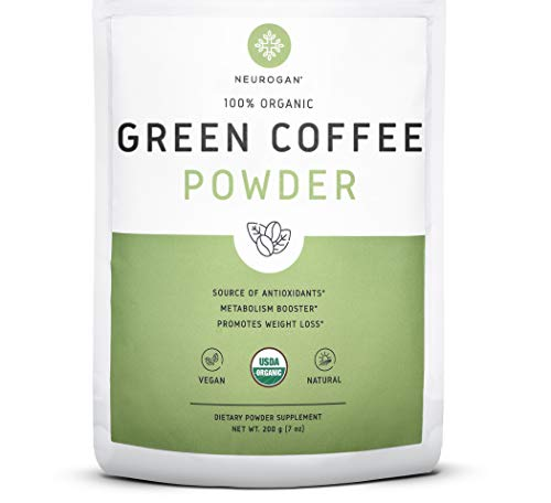 Neurogan Green Coffee Bean Powder 200g - Organic Pure Extract for Metabolism Boost, Potent Weight Loss Management, Overall Health Improvement, and Aging Prevention, Non-GMO and Vegan Friendly