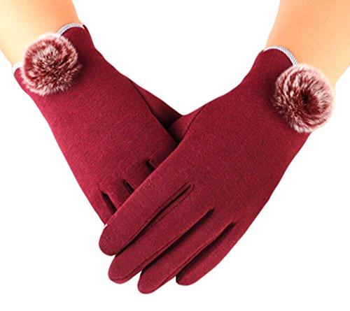 knolee Womensタッチ画面裏地厚手暖かい冬手袋