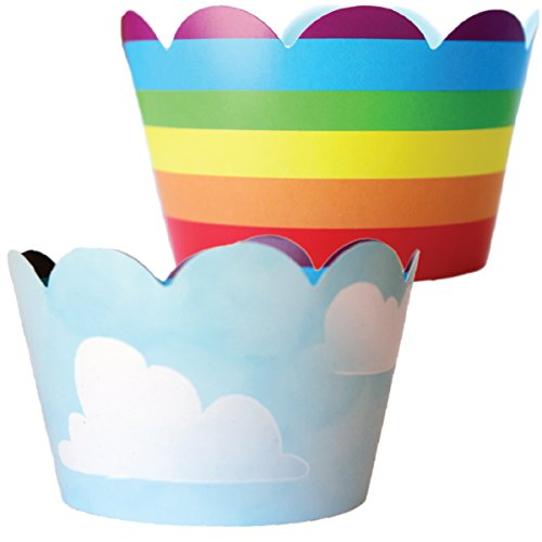 Rainbow Cupcake Wrappers - 36 Reversible | Unicorn Party Supplies, Cloud Cup Cake Liner Wraps, Airplane Birthday Favor Bag Holders, Wizard of Oz Theme Baby Shower Decor, Hot Air Balloon Decorations]()