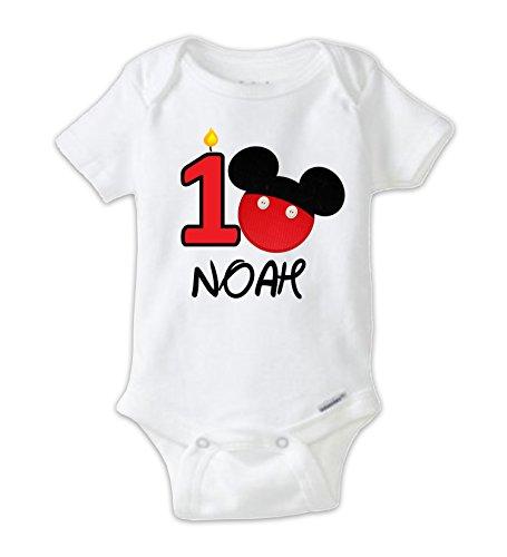 Juju Apparel Mickey First Birthday Onesie, Mickey Mouse First Birthday Bodysuit (18 Months) (Mickey Mouse 1st Birthday Shirt)