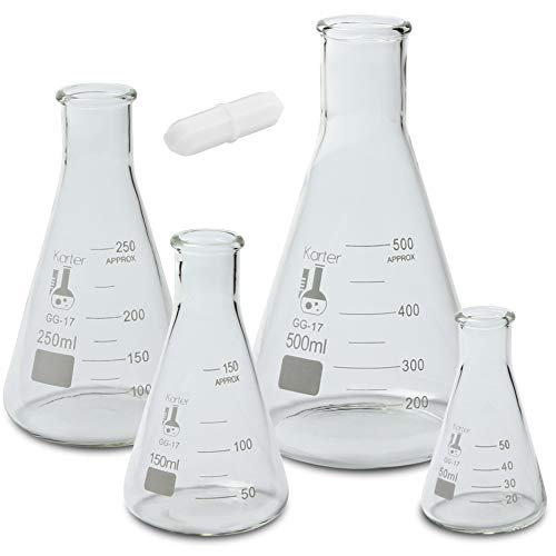 Glass Erlenmeyer Flask Set with Magnetic Stir Bar – 4 Sizes – 50, 150, 250, and 500ml, Borosilicate Glass, Heavy Duty Rim, Thick Wall, Karter Scientific 233U2