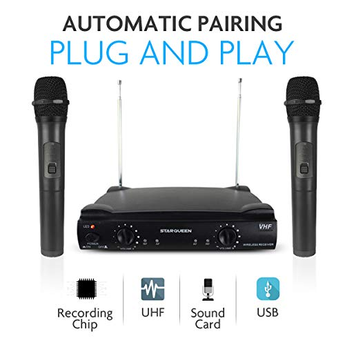 Starqueen Dual-Channel Wireless Microphone System with 2 Handheld Dynamic Mics, Cordless Portable Stage Karaoke Machine for Home KTV Party Speech