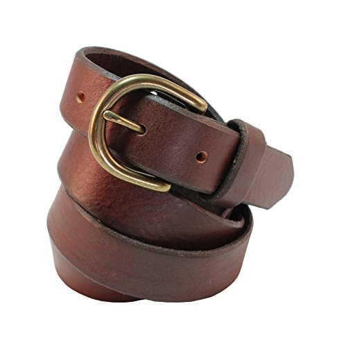Brown Leather Designer Belt (Jade Black Full Natural Grain Leather Designer Belt 1 inch (26mm) Wide With Oval Antique Brass)