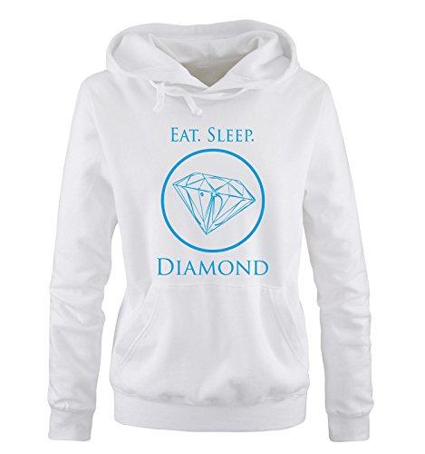 Felpa Felpa Bianco blu con Donna Donna Shirts lunghe cappuccio Comedy Maniche qWvRw755