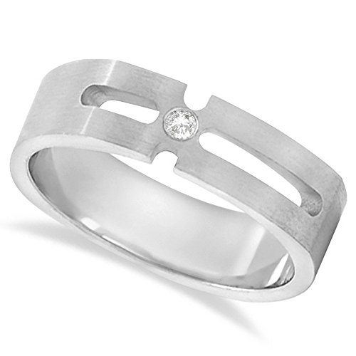Diamond Solitaire Wedding Band For Men Burnished in Platinum (6mm) (Burnished Diamond Band)
