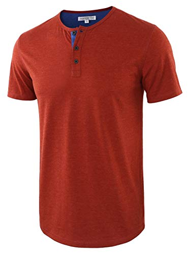 HARBETH Men's Casual Soft Athletic Regular Fit Short Sleeve Henley Jersey Shirt H.Rusty/H.Blue L ()