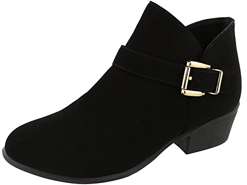 Top Heeled Ankle Accent Buckle Black Bootie Women's Moda rICqwAr