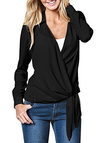 Fashare Womens Chiffon Blouses Wrap Top Tie Front Long Sleeve Casual Surplice Shirt