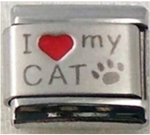 Stylysh Charms CAT I Love My CAT RH Laser Engraved Italian 9mmCA002